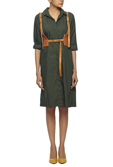 Latest Collection of Forest green shirt dress  by Nikhil Thampi