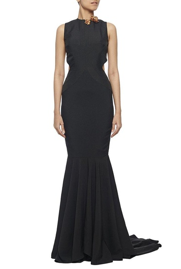Latest Collection of Black fishtail cut out gown with metal flowers by Nikhil Thampi