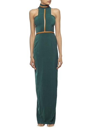 Latest Collection of Forest green high neck column dress with tan leather detailing by Nikhil Thampi