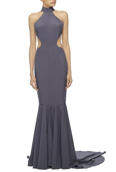 Latest Collection of Dark grey high collared fishtail gown with open back by Nikhil Thampi