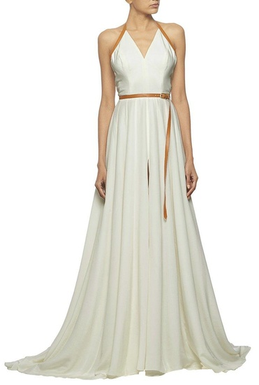 Latest Collection of White gown with deep V-neck & tan leather detailing by Nikhil Thampi
