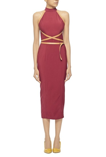 Latest Collection of Marsala high neck column dress with criss cross leather belt by Nikhil Thampi