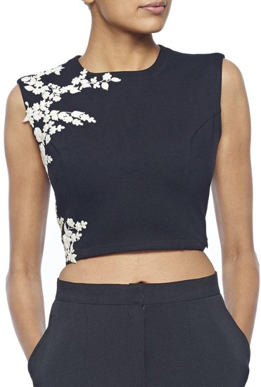 Latest Collection of Black embroidered crop top by Ridhi Mehra