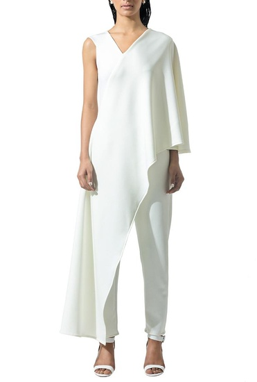 Latest Collection of Ivory draped jumpsuit by Bhaavya Bhatnagar