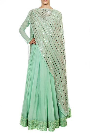 Latest Collection of Mint anarkali with attached mirror embroidered dupatta by Ridhima Bhasin