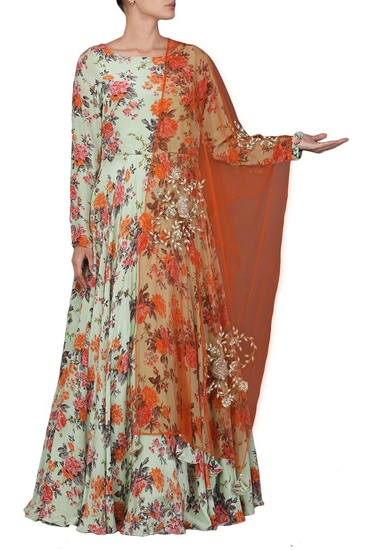 Latest Collection of Light mint green floral printed anarkali by Bhumika Sharma