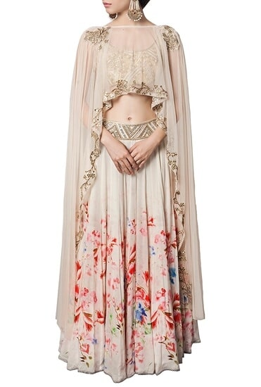 Latest Collection of Off white floral printed & embellished lehenga by Ritika Mirchandani