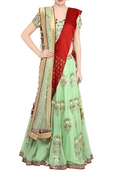 Latest Collection of Mint green gota patti lehnga with green embroidered blouse. by Devnaagri