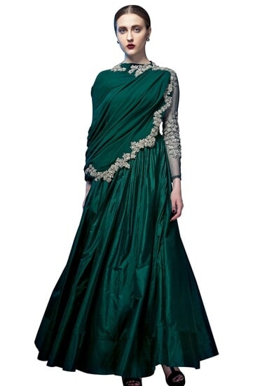 Latest Collection of Emerald green embroidered anarkali  by Ridhi Mehra