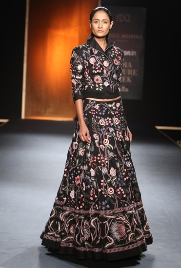 Latest Collection of Black embroidered chintz bomber jacket with lehenga by Rahul Mishra