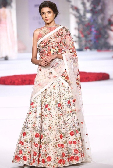 Latest Collection of Ivory rose embroidered lehenga by Varun Bahl