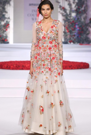 Latest Collection of Ivory floral embroidered gown by Varun Bahl