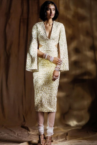 Latest Collection of Ivory & gold embroidered rib cut out kurta with churidar by Nikhil Thampi