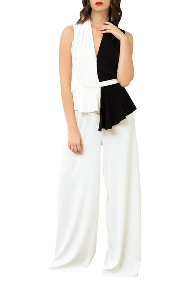 Peplum Style Jumpsuit With Tie-Up Belt