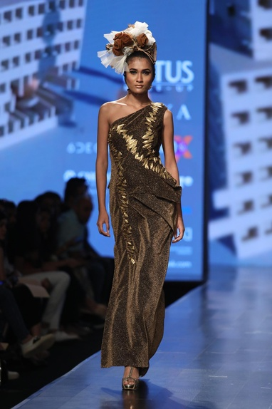 Metallic embroidered shimmer gown