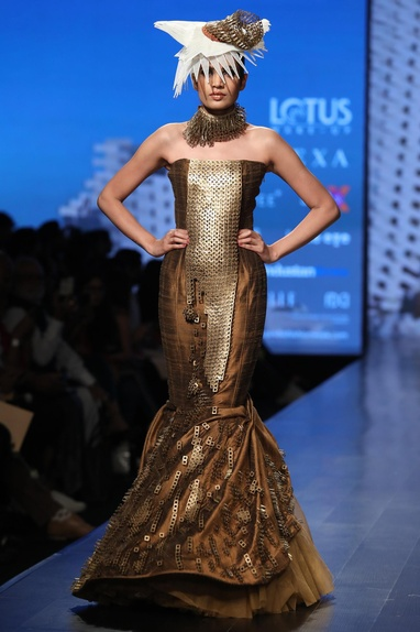 Metallic embroidered fish tail gown