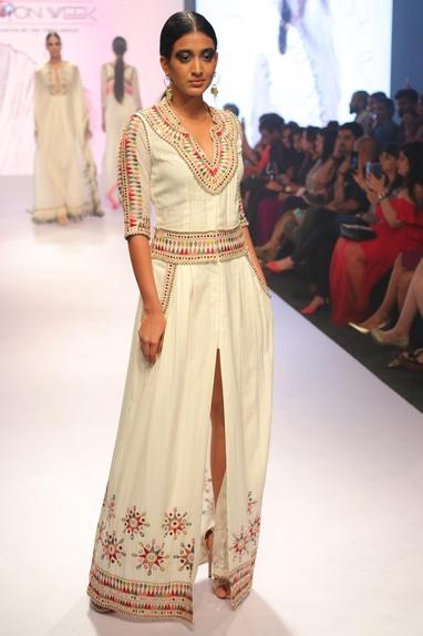 High slit embroidered dress
