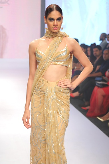 Sequin embroidered pre draped sari with blouse