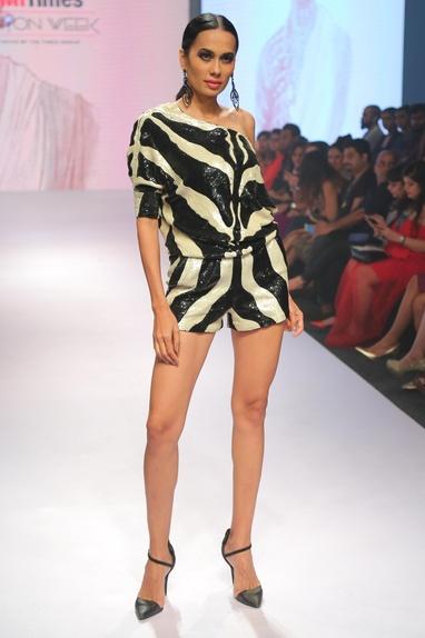 One shoulder sequin embroidered jumpsuit