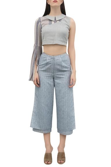 Striped layered hemline pants