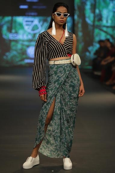 Striped crop top & printed skirt