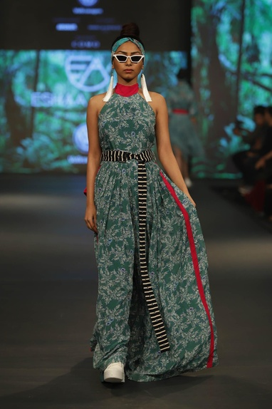 Printed flared jumpsuit with striped waist belt