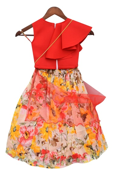 Bow Embellished Blouse With Floral Print Skirt