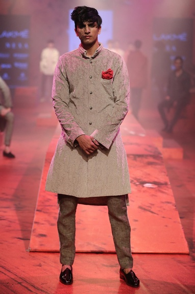 Button Front Sherwani With Pants