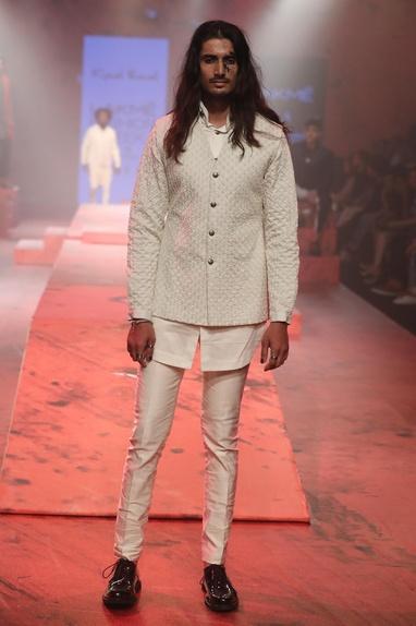 Textured nehru jacket set