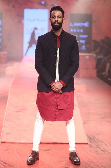 Bandhgala waistcoat set with layered kurta
