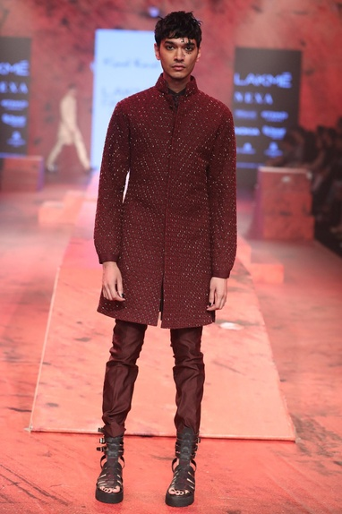 Textured embroidered sherwani set