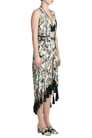 Flower printed cover up with tassel border