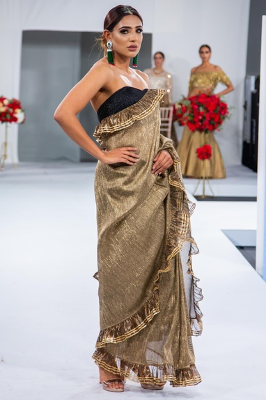 Embroidered ruffle sari with tube blouse