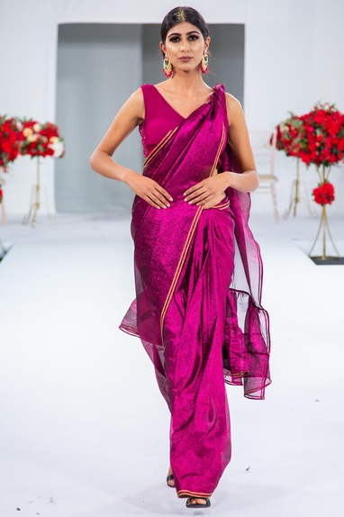 Lace embroidered ruffle sari with blouse