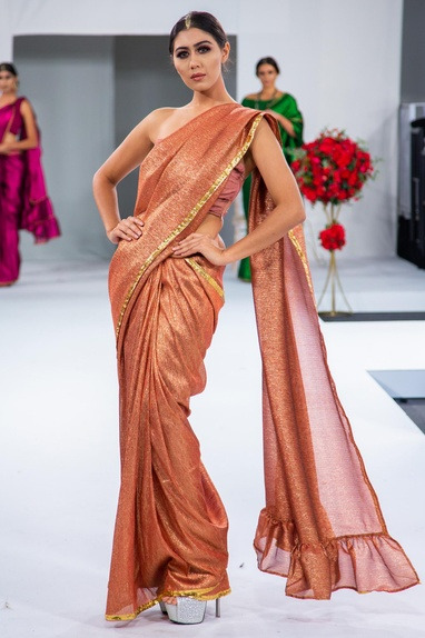 Embroidered ruffle sari with blouse