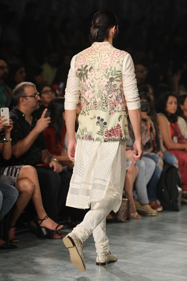 Floral hand embroidered nehru jacket