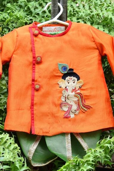 Lord Ganesha Motif Embroidered Dhoti Kurta Set