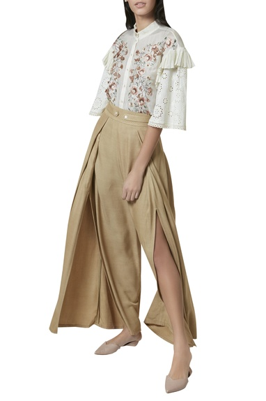 Floral Embroidered Blouse With Layered Sleeves