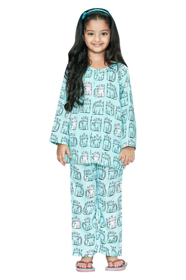 Cat Printed Pyjama Set