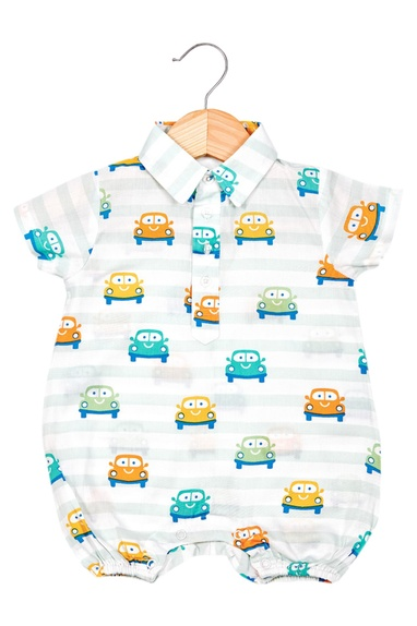 Smiley Car Boy Romper