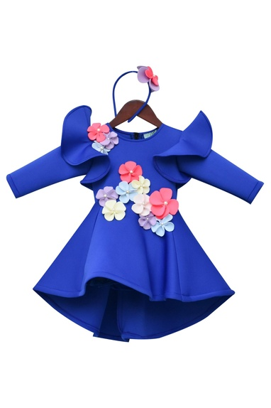 Flared Dress With 3D Flowers