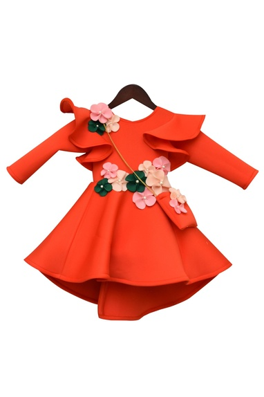 Ruffle Flared Dress With 3D Flowers