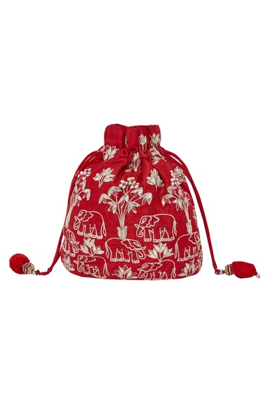 Elephant Dori Embroidered Potli Bag