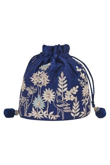 Navy Embroidered Potli bag