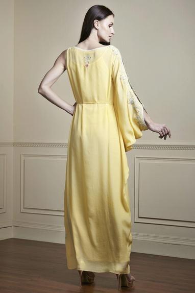 Yellow one shoulder kaftan