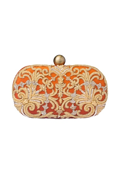 Rust zardozi clutch