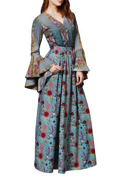 Blue chintz skirt
