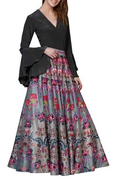 Grey chintz embroidered skirt