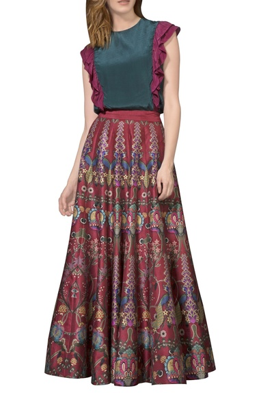 Maroon printed maxi skirt