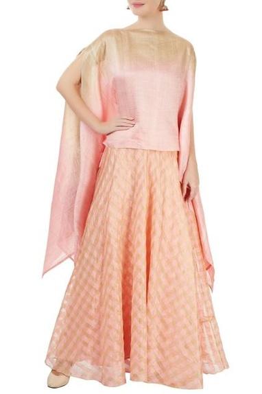 Pink & gold checkered skirt set